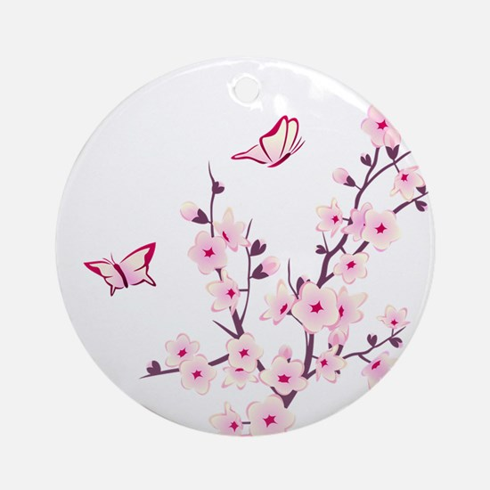 Cherry Blossom with Butterfly Round Ornament