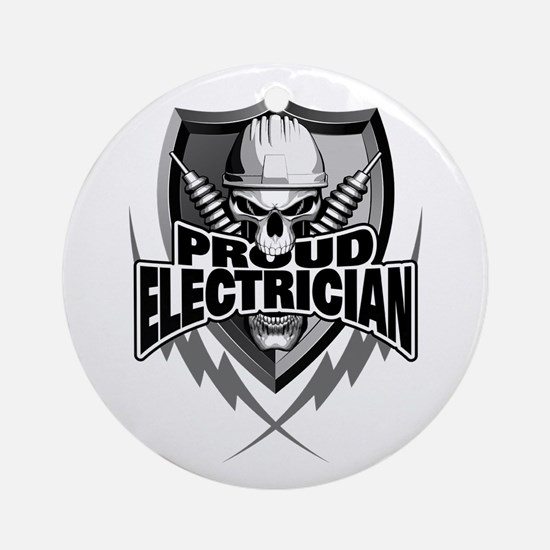 Proud Electrician Skull Round Ornament