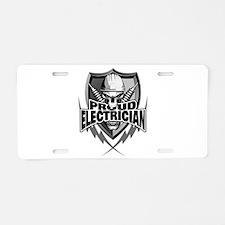 Proud Electrician Skull Aluminum License Plate