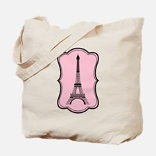 Eiffel Tower on Pink and Black Tote Bag