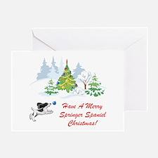 Christmas Black Springer Span Greeting Card