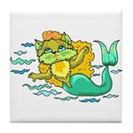 Kitty Mermaid Tile Coaster