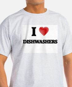 I love Dishwashers (Heart made from words) T-Shirt