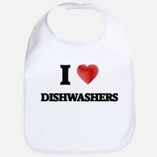 I love Dishwashers (Heart made from words) Bib