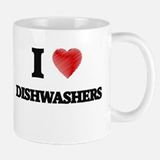 I love Dishwashers (Heart made from words) Mugs