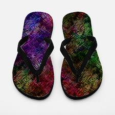 Dark Black Scribbled Neon Pattern Flip Flops