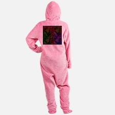Dark Black Scribbled Neon Pattern Footed Pajamas