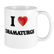 I love Dramaturgs (Heart made from words) Mugs