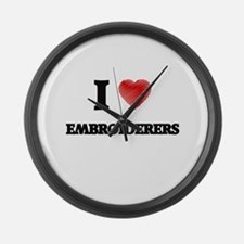 I love Embroiderers (Heart made f Large Wall Clock