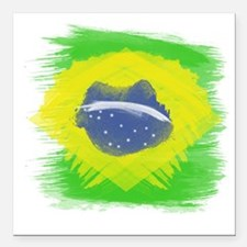 "Cute Brazil flag Square Car Magnet 3"" x 3"""