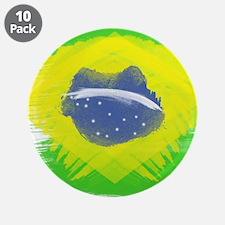 "Brazil Flag Brasilian Rio 3.5"" Button (10 pack)"