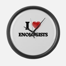 I love Enologists (Heart made fro Large Wall Clock