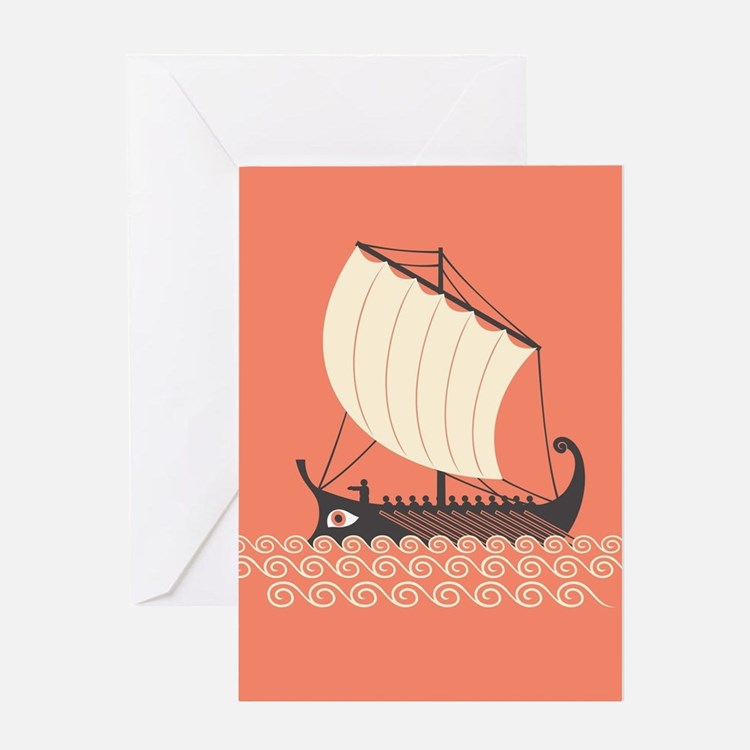 Ancient Ship Greeting Cards