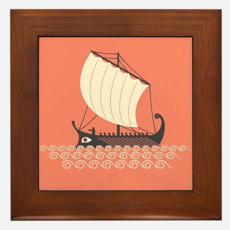 Ancient Ship Framed Tile