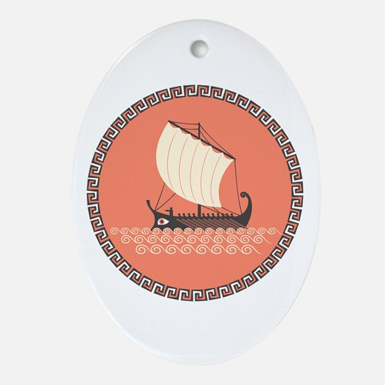 Ancient Ship Oval Ornament