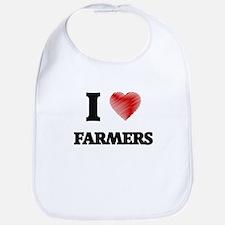 I love Farmers (Heart made from words) Bib