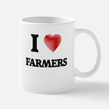 I love Farmers (Heart made from words) Mugs