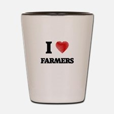 I love Farmers (Heart made from words) Shot Glass
