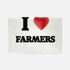 I love Farmers (Heart made from words) Magnets