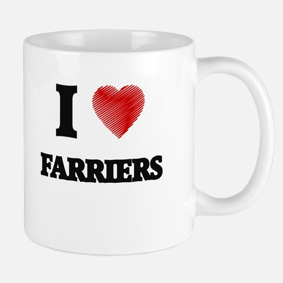 I love Farriers (Heart made from words) Mugs