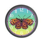 Checkerspot Butterfly Wall Clock