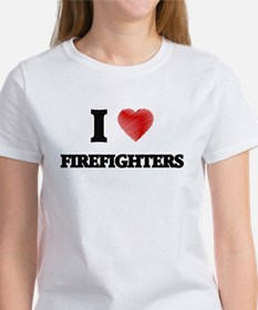 I love Firefighters (Heart made from words T-Shirt
