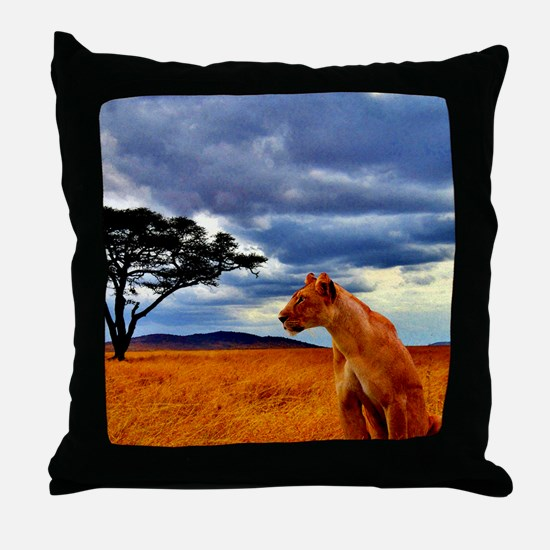 Lioness Storm Throw Pillow