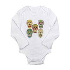 Cute Mexican sugar skulls Long Sleeve Infant Bodysuit