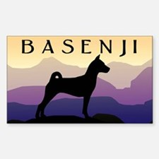 Basenji Purple Mountains Rectangle Decal