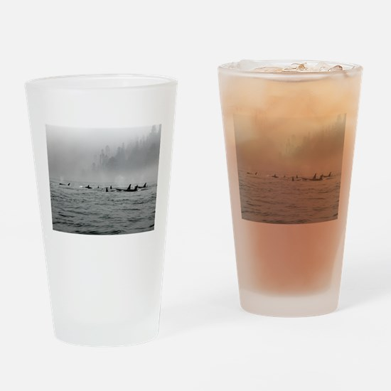 Passing Whales Drinking Glass