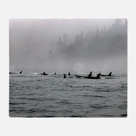 Passing Whales Throw Blanket