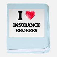 I love Insurance Brokers (Heart made baby blanket