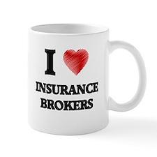 I love Insurance Brokers (Heart made from wor Mugs