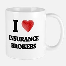 I love Insurance Brokers (Heart made from wor Mugs
