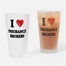I love Insurance Brokers (Heart mad Drinking Glass