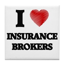 I love Insurance Brokers (Heart made Tile Coaster