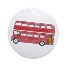 Anglophile Vintage Bus Ornament (Round)