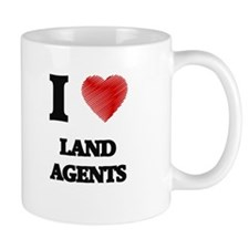 I love Land Agents (Heart made from words) Mugs