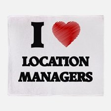 I love Location Managers (Heart made Throw Blanket