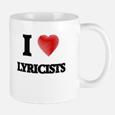 I love Lyricists (Heart made from words) Mugs