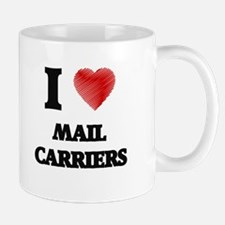 I love Mail Carriers (Heart made from words) Mugs