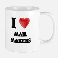 I love Mail Makers (Heart made from words) Mugs
