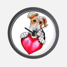 Wire Fox Terrier Holding Heart Wall Clock