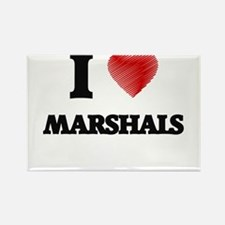 I love Marshals (Heart made from words) Magnets
