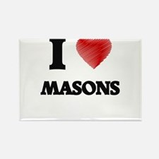 I love Masons (Heart made from words) Magnets