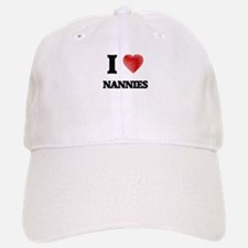 I love Nannies (Heart made from words) Baseball Baseball Cap