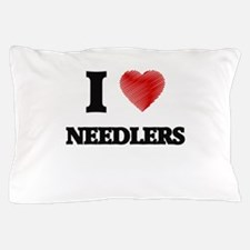 I love Needlers (Heart made from words Pillow Case