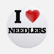 I love Needlers (Heart made from wo Round Ornament