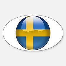 Sweden Flag Jewel Oval Decal
