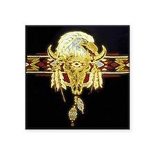 """Golden Eagle Buffalo Skull Square Sticker 3"""" x 3"""""""